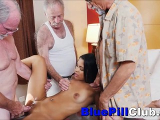No Limits Latina Teenager Fucks Three Old Grandpas