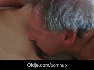 Slutty maid fucking porn addict grandpa gets cumshot in mouth