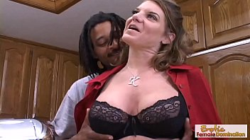 Busty mature gets bent over her kitchen counter and fucked