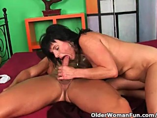 Soccer mom enjoys his hard cock in her mature pussy