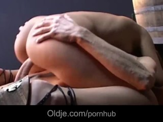 Skinny grandpa stings his prick into young pussy