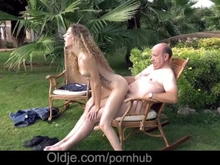 Teenie Monique sucks the old cock of a big-bellied grandpa