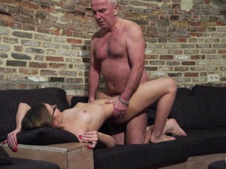 Old and Young Porn - Grandpa Fucks Teen Pussy fingers her twat and cumshot