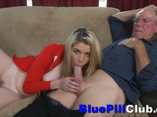 Teen Whore Toyed Before Sucking & Fucking Old Dude