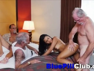 Latin Teenage Cockwhore Fucks Three Old Dudes