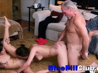 Pretty Teenage Lesbos Fuck Party With 2 Old Grandpas