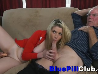 Teenage Cutie Dildoed Before Fucking Very Old Grandpa